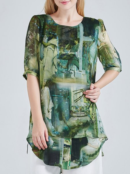 Green Crew Neck Half Sleeve Floral Print Silk Tunic