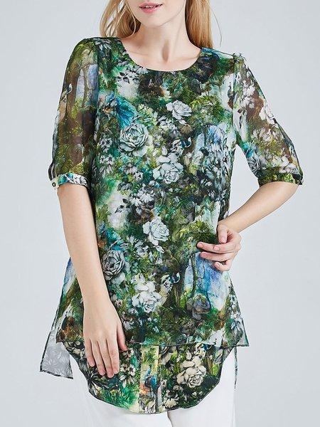 Asymmetric Vintage Half Sleeve Crew Neck Floral Print Silk Tunic