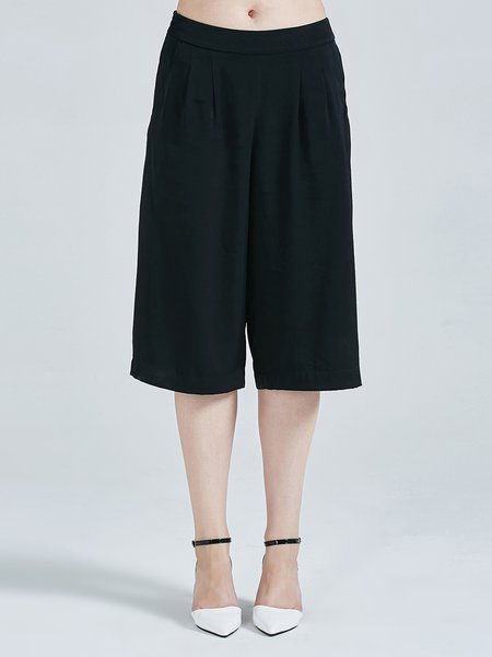 Black Simple Plain Silk A-line Wide Leg Pants