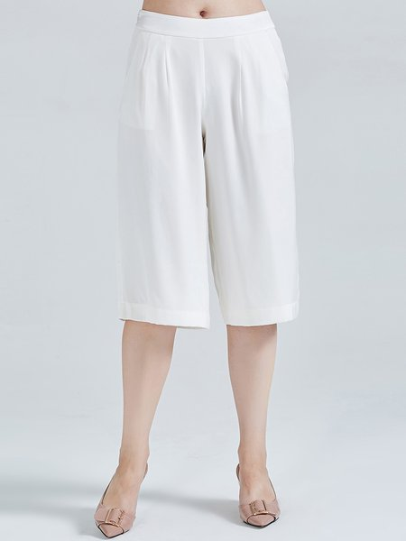 White Plain Silk Folds Simple Wide Leg Pants