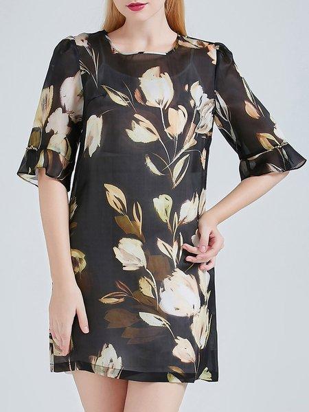 Black Silk Half Sleeve Floral Print Two Piece Silk Mini Dress