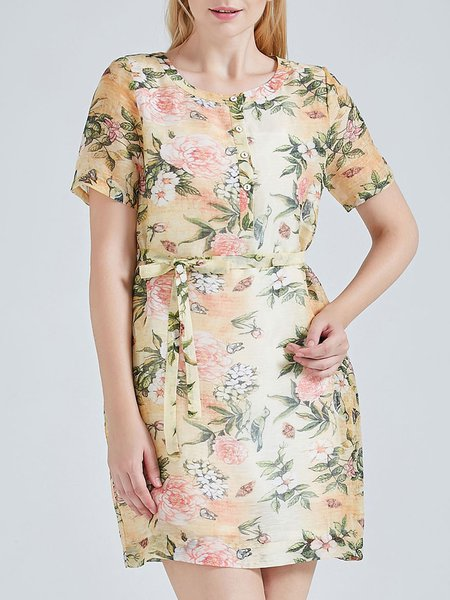 Floral Print  Vintage Crew Neck Half Sleeve Silk Linen Shirt Dress