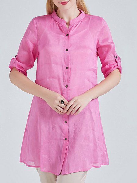 Red Half Sleeve Stand Collar Plain Casual Silk Linen Tunic