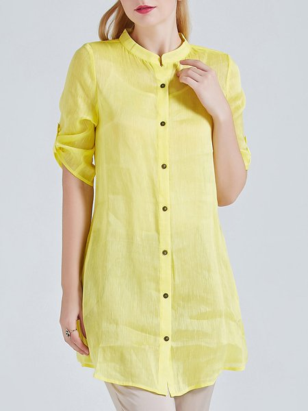 Plain Casual Stand Collar Half Sleeve Plain Casual Silk Linen Tunic