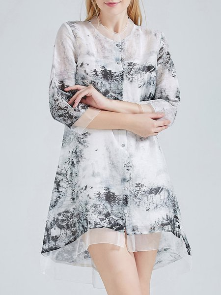 Gray Linen A-line Vintage Stand Collar Silk Linen Tunic