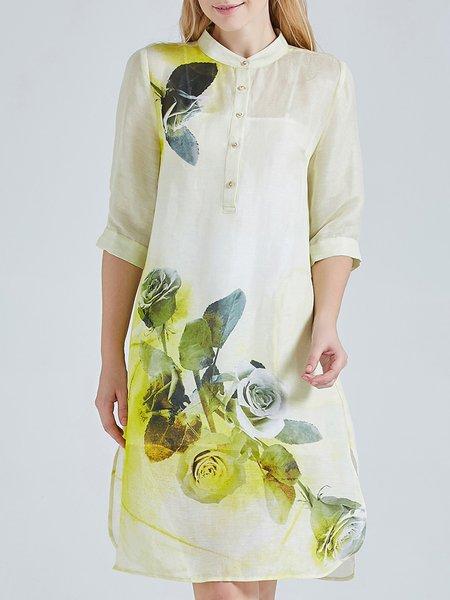 Yellow A-line 3/4 Sleeve Vintage Floral Print Silk Linen Shirt Dress