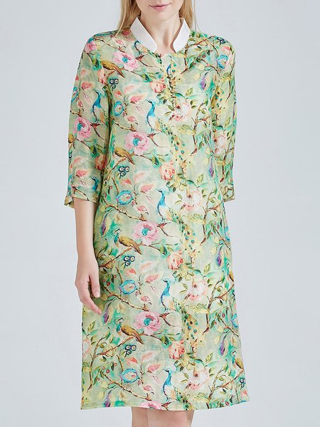 Green 3/4 Sleeve Floral Print Vintage Silk Linen Midi Dress