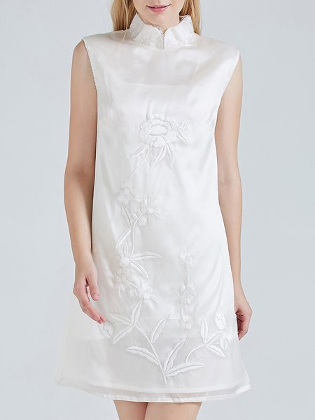White A-line Sleeveless Silk Embroidered Mini Dress