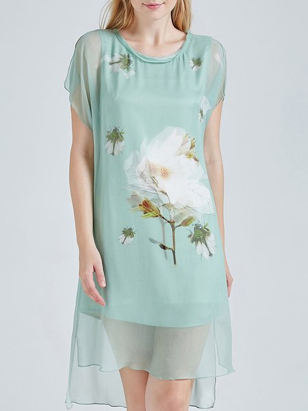 Green Floral Vintage Crew Neck Asymmetric Silk Midi Dress