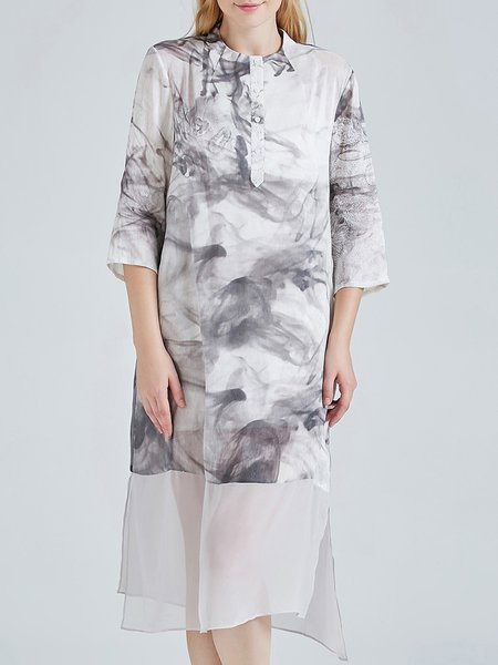 Gray H-line Vintage Printed Slit Silk Linen Shirt Dress