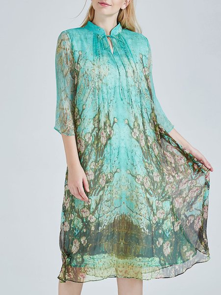 Vintage Silk 3/4 Sleeve Floral Print A-line Midi Dress