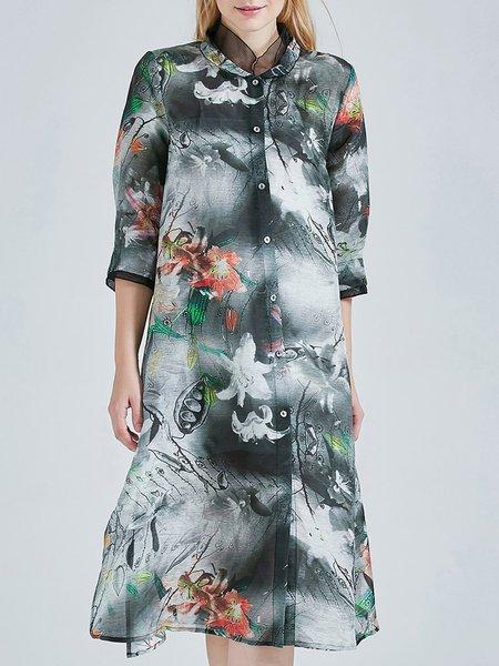 A-line 3/4 Sleeve Vintage Printed Midi Dress