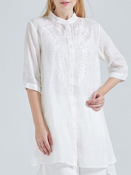 3/4 Sleeve Asymmetric Floral Vintage Linen Silk Tunic
