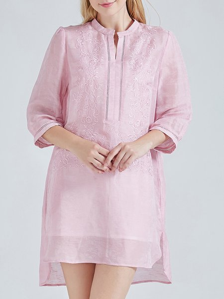 Pink Embroidered 3/4 Sleeve Asymmetric Silk Linen Vintage Tunic