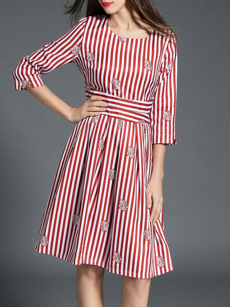 Red Printed Polyester Sweet Crew Neck Midi Dress