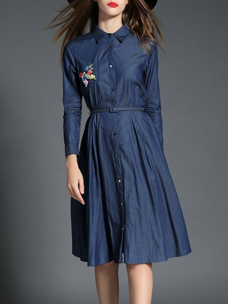 Simple Long Sleeve Shirt Collar Midi Dress