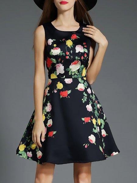 Black Printed Sleeveless A-line Floral Cocktail Midi Dress