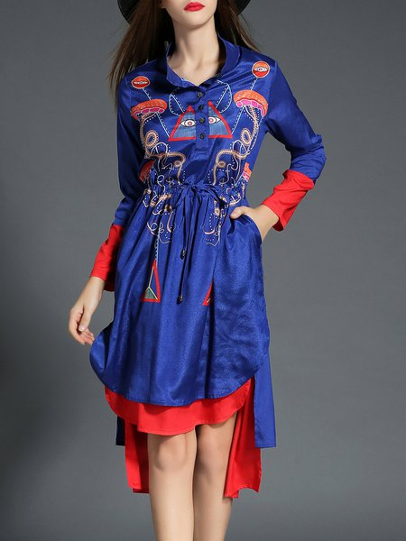 Blue Shirt Collar Statement Paneled High-low Midi Dress With Belt