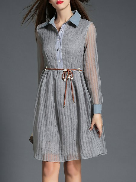 Gray Shirt Collar Long Sleeve Stripes Mesh Midi Dress With Belt