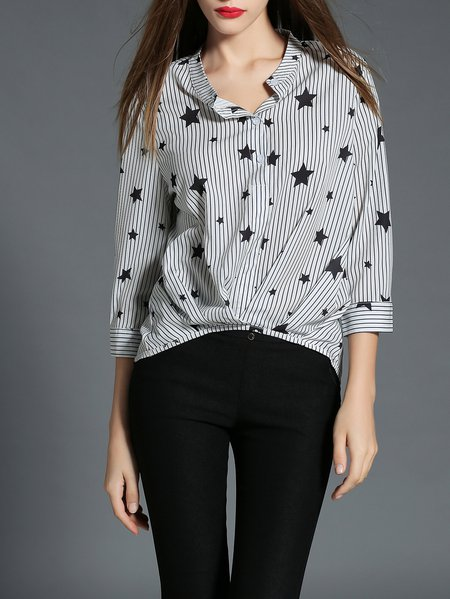 Black Star Print Stripes 3/4 Sleeve Gathered Blouse