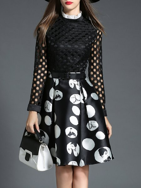 Black Pierced Girly Polka Dots Midi Dress