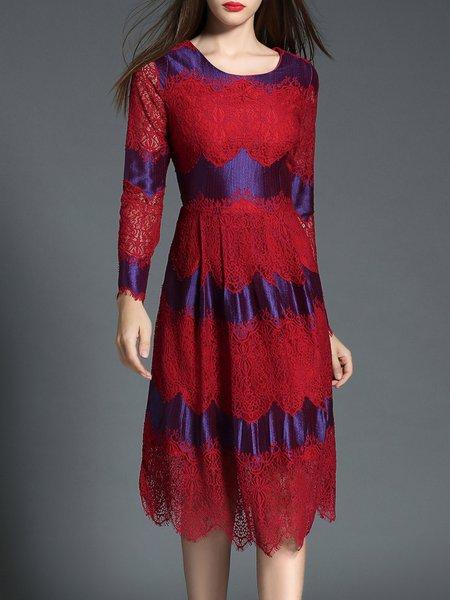 Red Lace Paneled Cotton-blend Elegant Floral Midi Dress