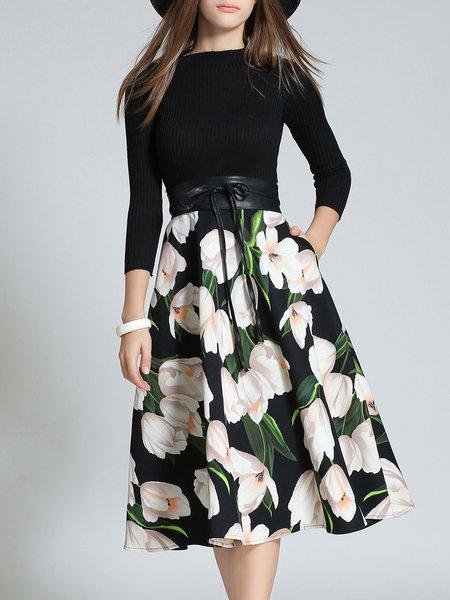 Black Lily Floral Printed 3/4 Sleeve Skater Midi Dress With Belt