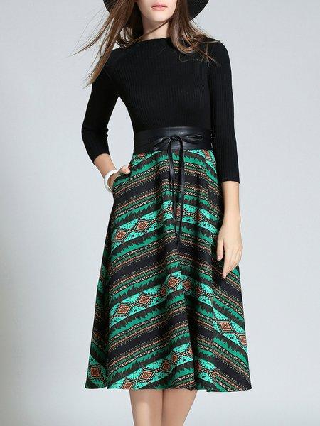 Green Skater 3/4 Sleeve Tribal Knitted Midi Dress With Belt