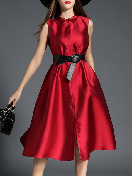 Red Elegant Skater Shirt Collar Midi Dress With Belt
