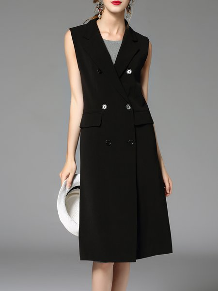 Black Buttoned Work Sleeveless Cotton Lapel Gilet