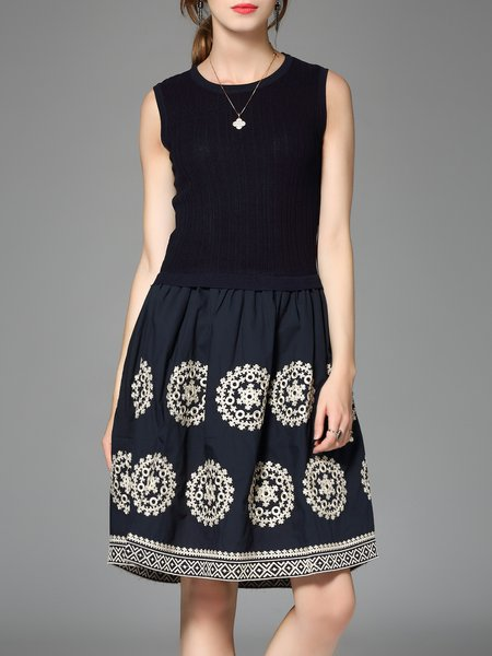 Dark Blue Tribal Casual Cotton-blend Embroidered A-line Midi Dress