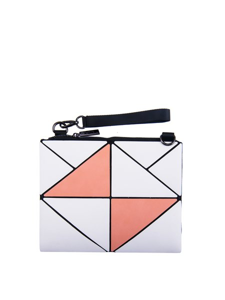 Orange PU Color-block Geometric Statement Small Clutch