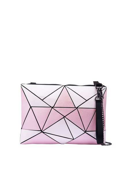 Pink Statement Color-block Geometric Panelled PU Zipper Crossbody Bag