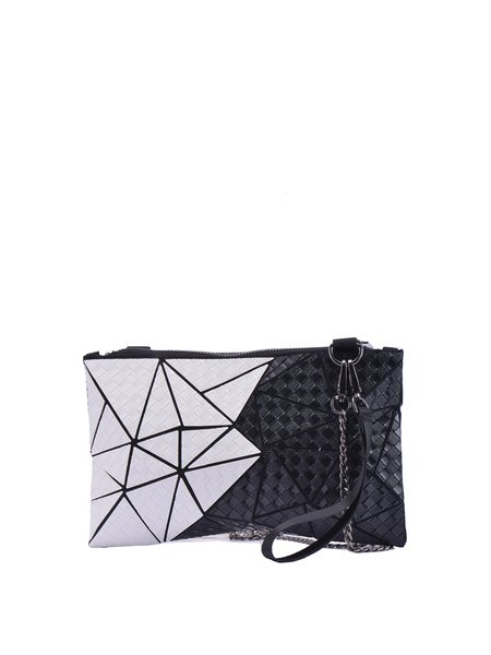 Black-white Statement Color-block Geometric Panelled PU Zipper Crossbody Bag