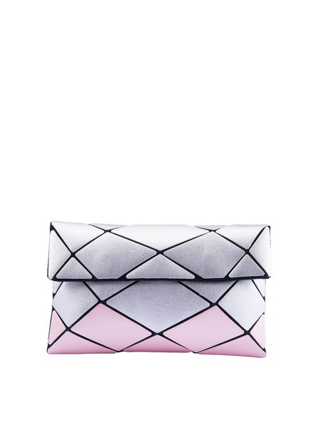 Silver Magnetic Color-block Geometric Statement PU Crossbody Bag