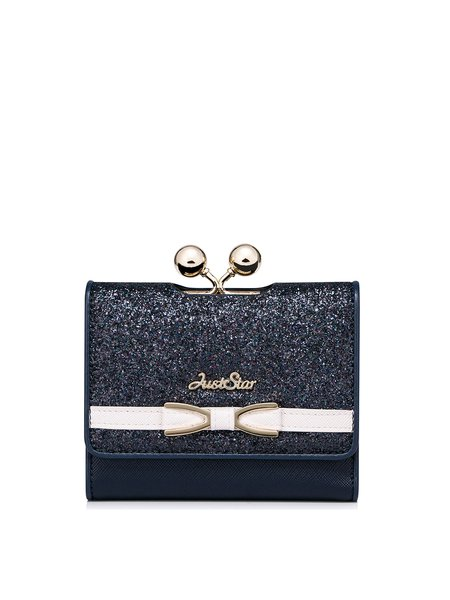 Navy Blue Snap PU Wallet