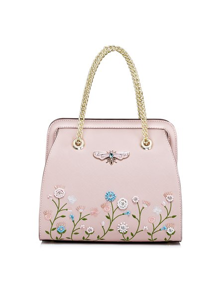 Pink PU Sweet Zipper Embroideried Top Handle