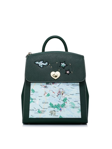 Dark Green Small Sweet Printed PU Backpack