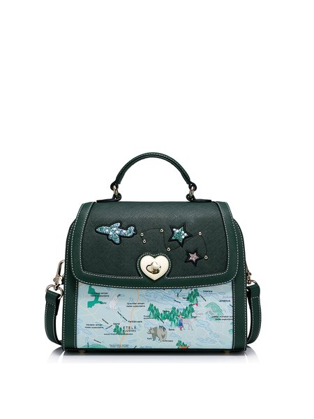 Dark Green Small PU Sweet Printed Satchel