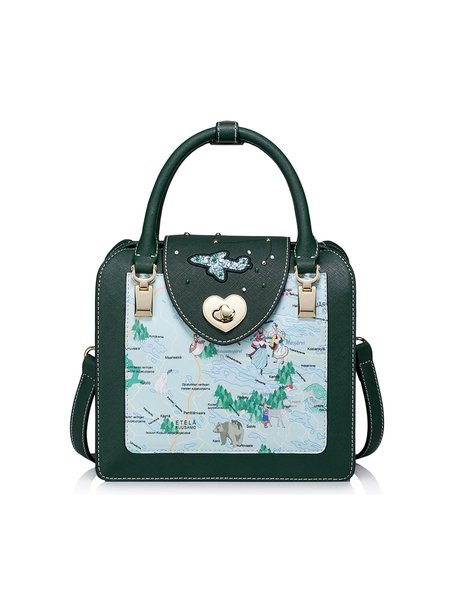 Dark Green Zipper PU Sweet Printed Satchel