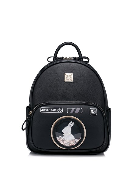 Black Small PU Sweet Printed Backpack
