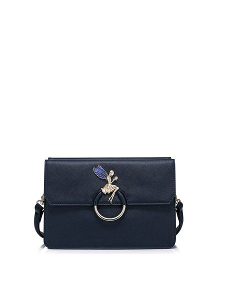 Navy Blue Sweet Zipper Crossbody Bag