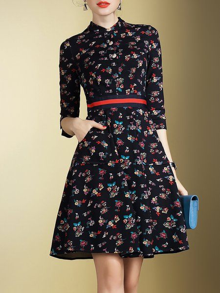 Navy Blue 3/4 Sleeve Floral Printed Midi Dress