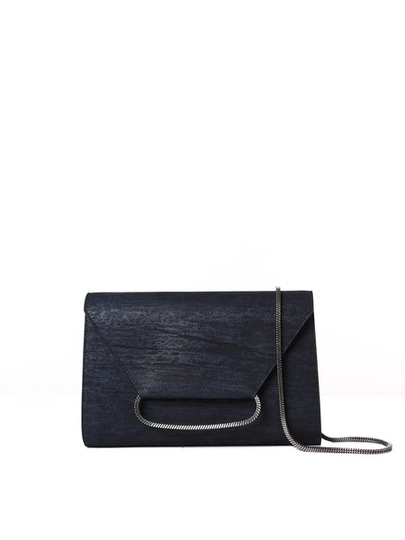 Navy Blue Solid Cowhide Leather Small Clutch