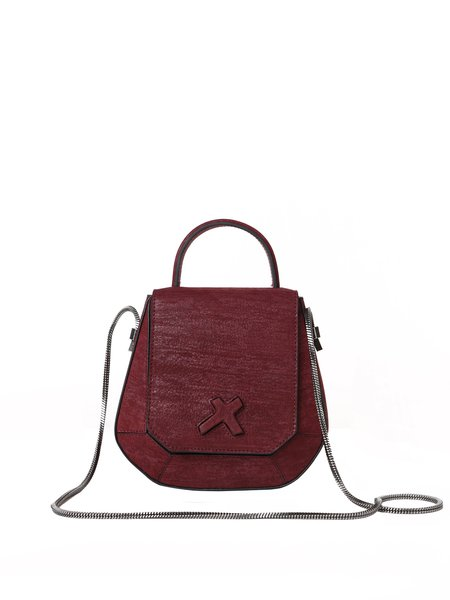 Wine Red Cowhide Leather Small Crossbody