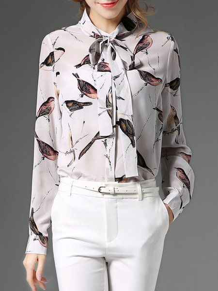 Casual Printed Shirt Collar Long Sleeve H-line Blouse