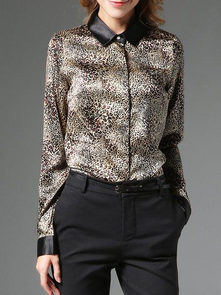 Multicolor Printed Shirt Collar Animal Print Long Sleeve Blouse