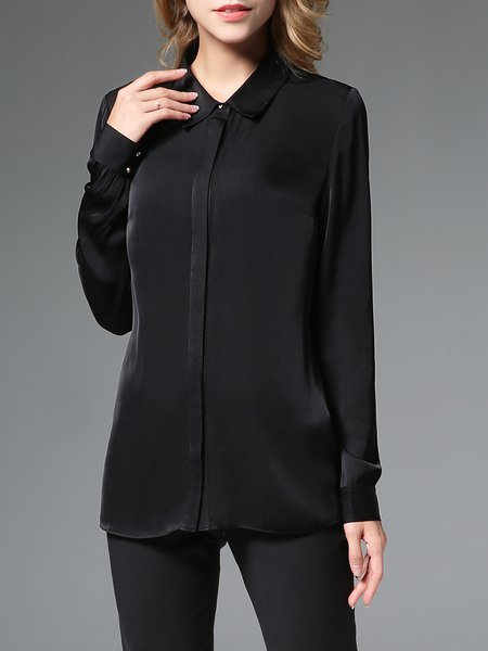 Black Shirt Collar H-line Simple Blouse