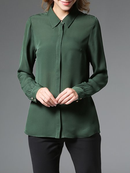 Green Shirt Collar Simple Casual Plain Silk Blouse