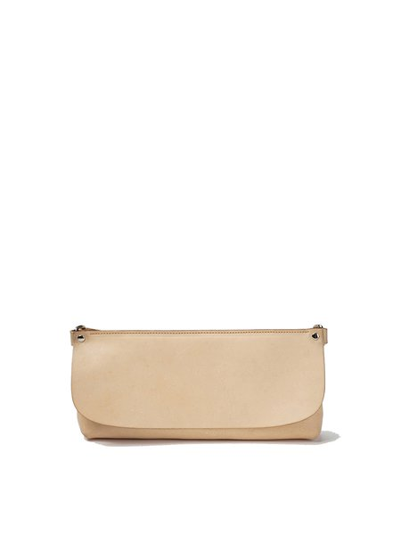 Khaki Fold-over Flat Top Medium Cowhide Leather Retro Crossbody